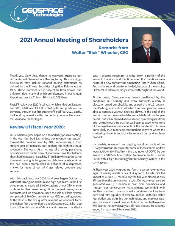 Wheeler FY21 Annual Shareholder Meeting Remarks